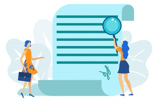 Frau zwei, die abkommen, unterzeichnender vektor des dokuments hat.