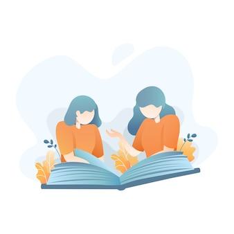 Frau zwei, die zusammen eine illustration des buches liest
