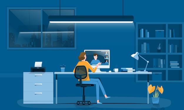 Frauen arbeiten online mit videokonferenzkonzept