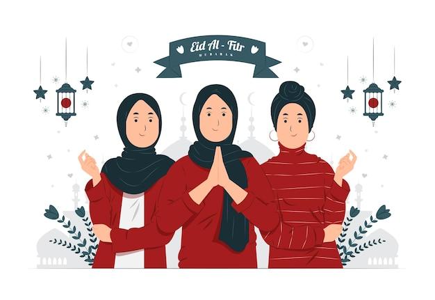 Frauen auf eid al fitr mubarak konzeptillustration
