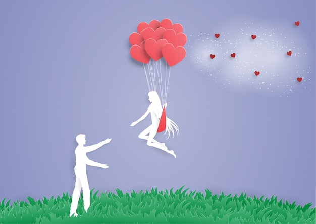 Frauen auf herzballon gehen, um mannliebe zu bemannen