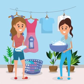 Frauen auf wäsche