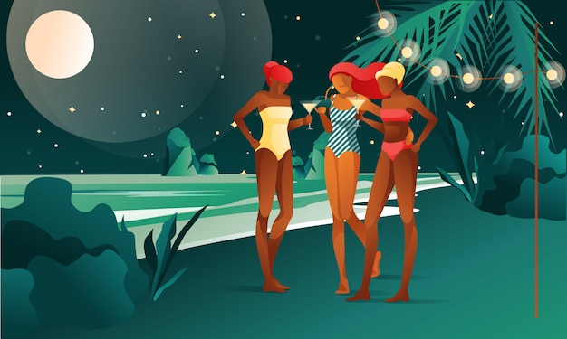 Frauen bei strandparty - illustration