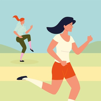 Frauen beim joggen oder laufen