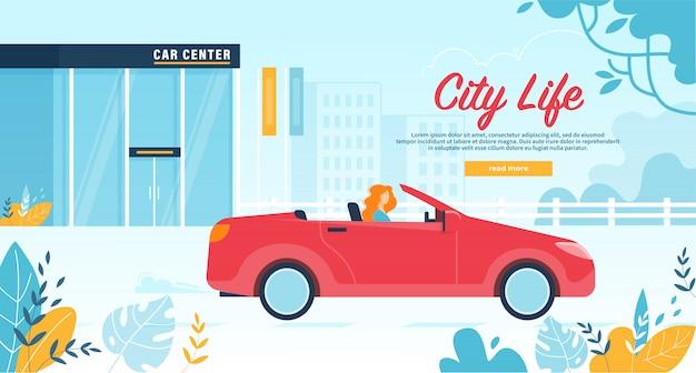 Frauen-bewohner-urlaub-autoservice auf roter cabrioletfahne