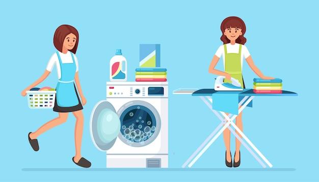 Frauen bügeln kleidung an bord, mädchen mit korb. tagesablauf, hausarbeit. waschmaschine mit reinigungsmittel hausfrau waschen mit elektronischer wäscherei für die reinigung