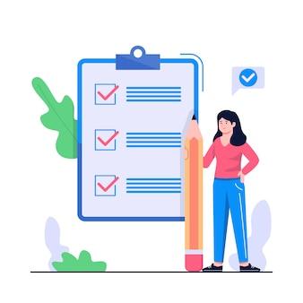 Frauen checkliste konzept illustration