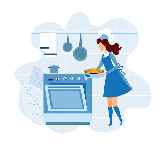 Frauen-chef nimmt torte aus ofen heraus