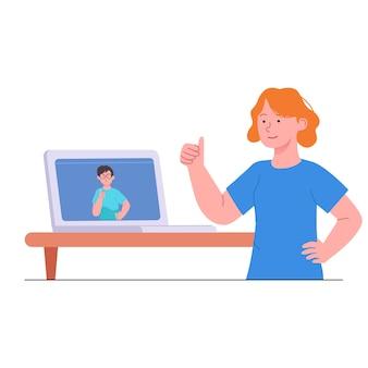 Frauen daumen hoch auf videoanruf illustration
