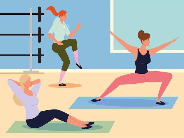 Frauen dehnen sich im fitnessstudio