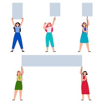 Frauen demonstrant bringen leere plakat sammlung set
