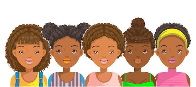 Frauen des porträtgesichts und der frisur für den afrikanischen pubertätsmädchenstil
