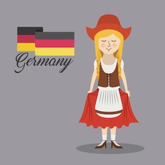 Frauen-deutschland-kulturavatarvektor-illustrationsdesign