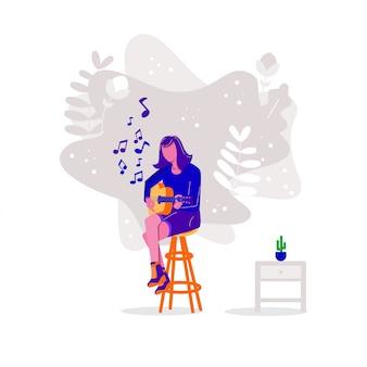 Frauen, die akustikgitarre spielen