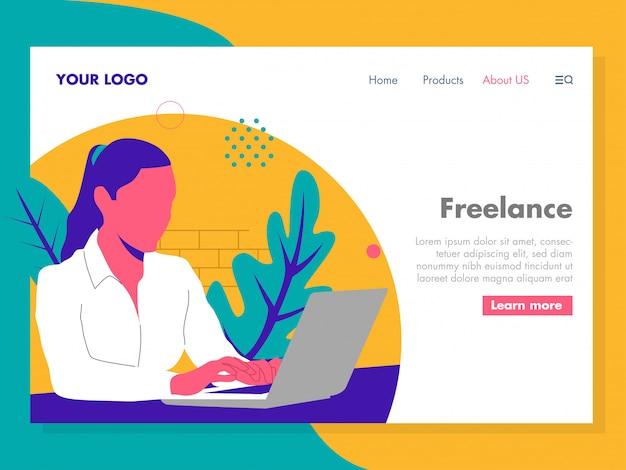 Frauen, die an einem laptop illustration für zielseite arbeiten