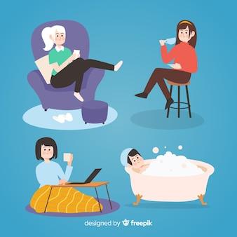 Frauen, die an ihren plätzen sich entspannen