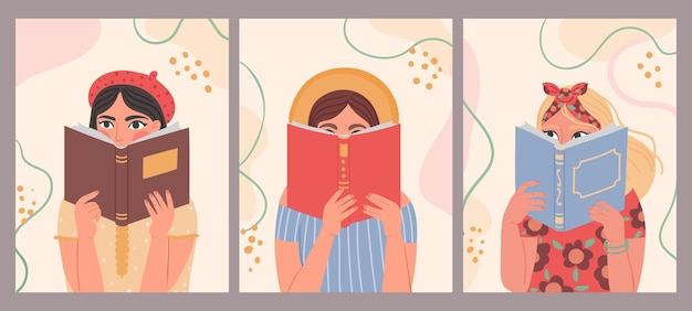 Frauen, die bücher lesen. handgezeichnetes modeplakat mit trendiger schöner frau, die buch hält. porträts von mädchen lesen und lernen, vektorkonzept. illustrationsstudentenleser, der poster farbiges jahrgang hält
