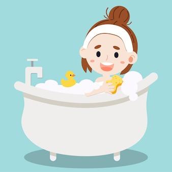 Frauen, die ein bad nehmen.