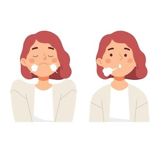 Frauen, die einatmen, atmen aus, um einen ruhigen stressabbau zu erreichen
