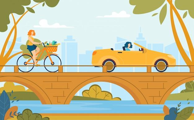Frauen, die fahrrad reiten und auto-sommer-karikatur fahren