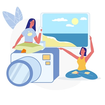 Frauen, die flache illustration der ferien-fotos wählen