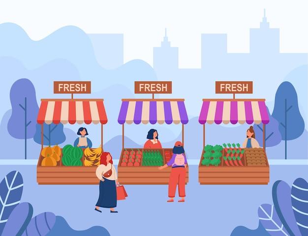 Frauen, die frische lebensmittel auf der flachen illustration des lokalen marktes kaufen