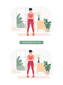 Frauen, die gebänderte bizeps-curls-übungen machen