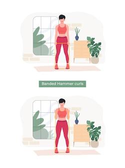 Frauen, die gebänderte hammer-curls-übungen machen