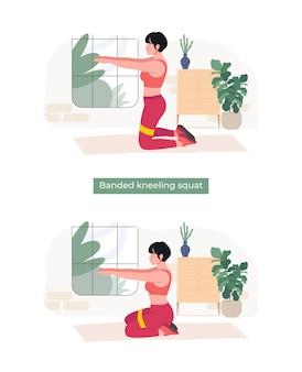 Frauen, die gebänderte kniebeugenübungen machen