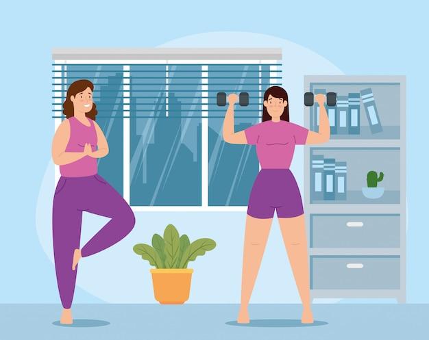 Frauen, die gewichte im hausvektorillustrationsentwurf heben