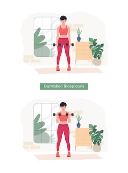 Frauen, die hantel-bizeps-curls-übungen machen