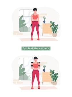 Frauen, die hantel-hammer-curls-übungen machen