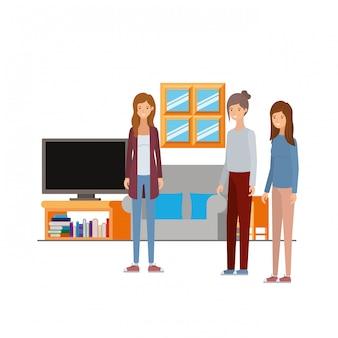 Frauen, die im arbeitsbüro mit weiß stehen