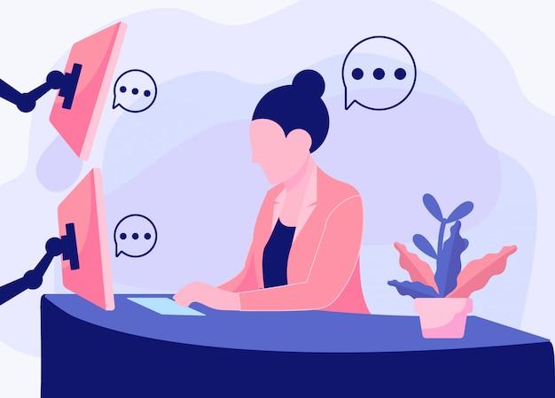 Frauen, die im büroillustrationshintergrund arbeiten