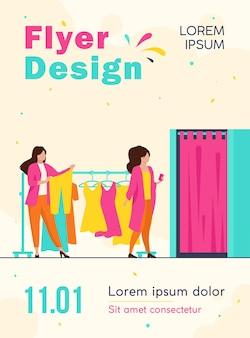 Frauen, die kleidung in der flyer-vorlage des bekleidungsgeschäfts kaufen