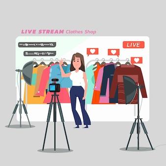 Frauen, die kleidung online verkaufen. übertragung von live-videos zu hause - illustration