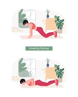 Frauen, die kneelingpushup-übungen machen