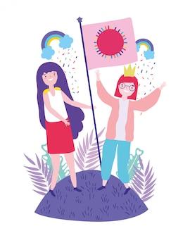 Frauen, die lgtbi marsch stützen