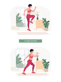 Frauen, die lunge jumps übung machen