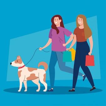 Frauen, die mit haustierhund an der leine gehen, frau mit hundemaskottchen