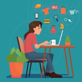 Frauen, die online einkaufen