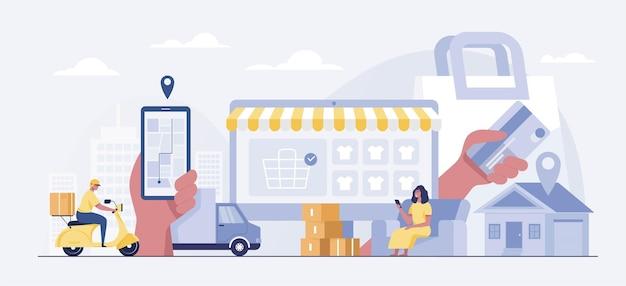 Frauen, die online-konzept einkaufen. kunden kaufen und bezahlen mit smartphones. schnelles lieferpaket mit zusteller per roller. vektorillustration