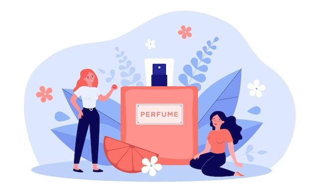 Frauen, die parfüm riechende illustration genießen