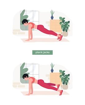 Frauen, die plank jacks-übungen machen