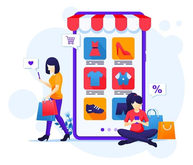 Frauen, die produkte im online-shop für mobile anwendungen kaufen