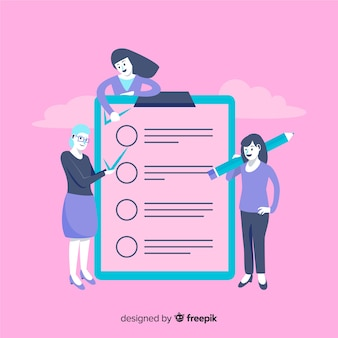 Frauen, die riesigen checklistenhintergrund überprüfen