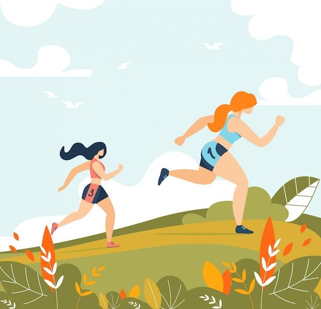 Frauen, die sport-tätigkeits-training im wald laufen lassen