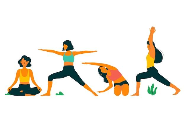 Frauen, die sportübungen yoga tag machen