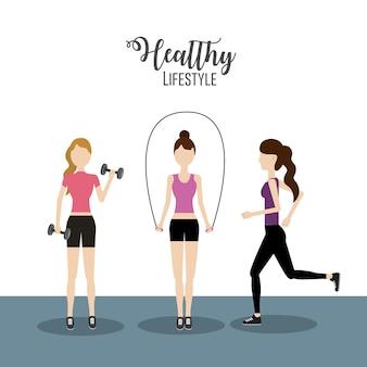 Frauen, die übung zu einem gesunden lebensstil machen
