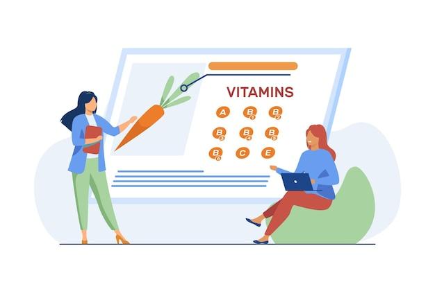 Frauen, die vitamine in bio-lebensmitteln studieren. ernährungswissenschaftler, der frisches gemüse auf bildschirmflachillustration präsentiert